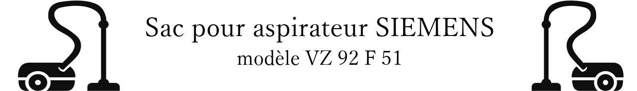 Sac aspirateur SIEMENS VZ 92 F 51 en vente