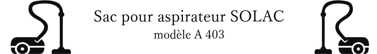 Sac aspirateur SOLAC A 403 en vente