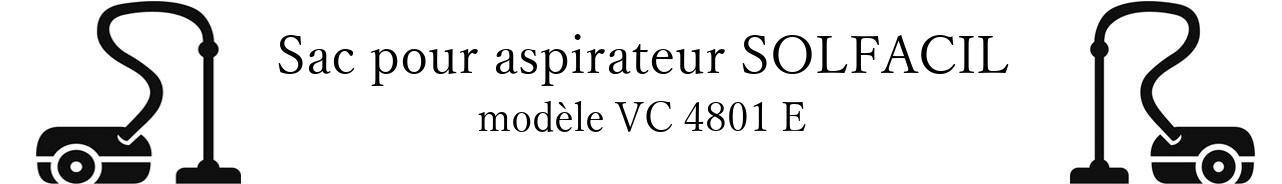 Sac aspirateur SOLFACIL VC 4801 E en vente