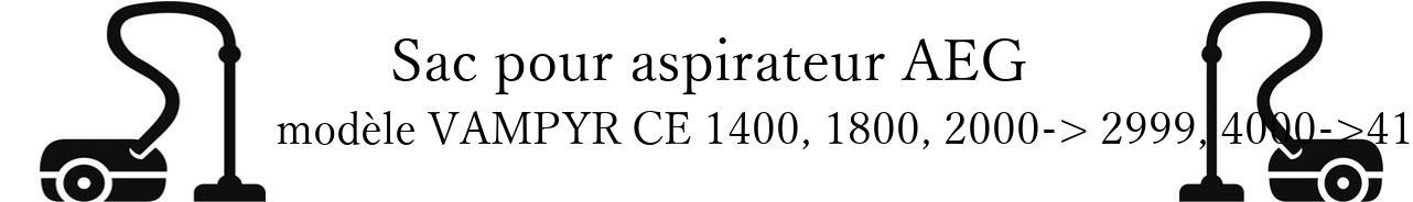 Sac aspirateur AEG VAMPYR CE 1400, 1800, 2000-> 2999, 4000->4199, 42.. en vente
