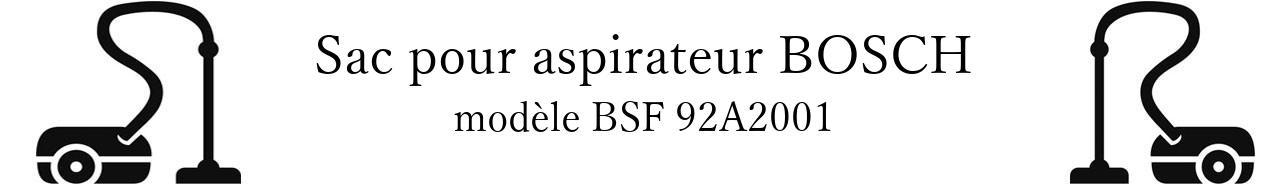 Sac aspirateur BOSCH BSF 92A2001 en vente